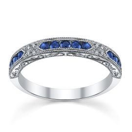 Kirk Kara 18k White Gold Blue Sapphire Diamond Wedding Band .03 ct. tw.