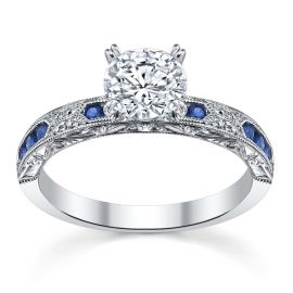 Kirk Kara 18k White Gold Blue Sapphire Diamond Engagement Ring Setting .03 ct. tw.