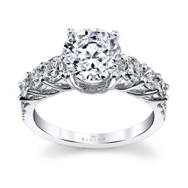 Divine 14k White Gold Diamond Engagement Ring Setting 7/8 ct. tw.