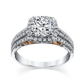 RB Signature 14k White Gold and 14k Rose Gold Diamond Engagement Ring Setting 1/2 ct. tw.