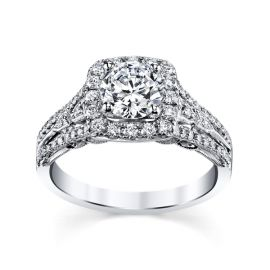 RB Signature 14k White Gold Diamond Engagement Ring Setting 1/2 ct. tw.