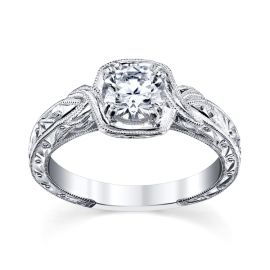 Kirk Kara 18k White Gold Diamond Engagement Ring Setting .01 ct. tw.