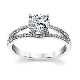 RB Signature 14k White Gold Diamond Engagement Ring Setting 1/8 ct. tw.