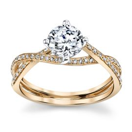 Simon G. 18k Rose Gold and 18k White Gold Diamond Engagement Ring Setting 1/7 ct. tw.