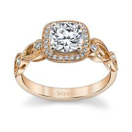 Simon G. 18k Rose Gold Diamond Engagement Ring Setting 1/8 ct. tw.