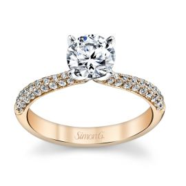 Simon G. 18k Rose and 18k White Gold Diamond Engagement Ring Setting 3/8 ct. tw.