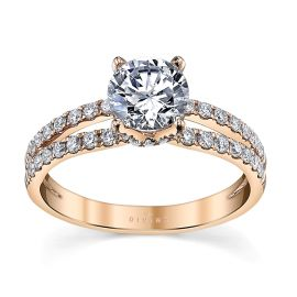 Divine 14k Rose Gold Diamond Engagement Ring Setting 3/8 ct. tw.