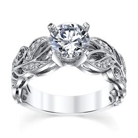 Divine 14k White Gold Diamond Engagement Ring Setting 1/10 ct. tw.