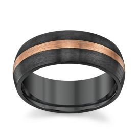 Lashbrook Zirconium and 14k Rose Gold 8 mm Wedding Band