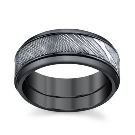 Lashbrook Zirconium and Damascus Steel 9 mm Wedding Band