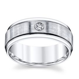 14k White Gold 8 mm Wedding Band 1/10 ct. tw.