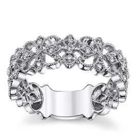 14k White Gold Diamond Wedding Ring 1/7 ct. tw.