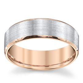Novell 14k Rose Gold and 14k White Gold 7 mm Wedding Band