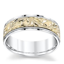 Novell 14k White Gold and 14k Yellow Gold 7 mm Wedding Band