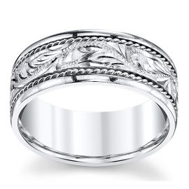 Novell 14k White Gold 8 mm Wedding Band