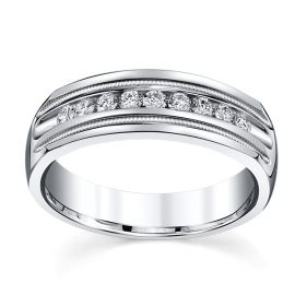 14k White Gold 6.6 mm Men's Diamond Wedding Band 1/3 ct. tw.