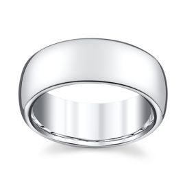 14k White Gold 8 mm Wedding Band