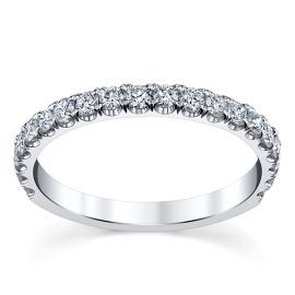 Suns and Roses 14k White Gold Diamond Wedding Band 1/2 ct. tw.
