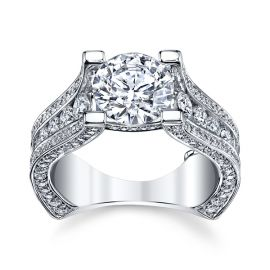 Michael M. 18k White Gold Diamond Engagement Ring Setting 2 ct. tw.