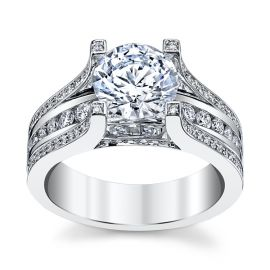 Michael M. 18k White Gold Diamond Engagement Ring Setting 7/8 ct. tw.