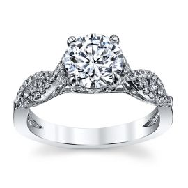 Kirk Kara 18k White Gold Diamond Engagement Ring Setting 1/4 ct. tw.