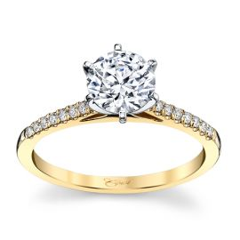 Coast Diamond 14k Yellow Gold and 14k White Diamond Engagement Ring Setting 1/10 ct. tw.