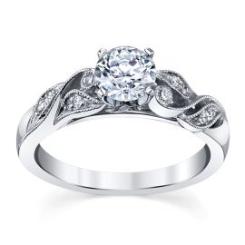 RB Signature 14k White Gold Diamond Engagement Ring Setting .06 ct. tw.