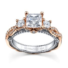 Verragio 18k Rose Gold and 18k White Gold Diamond Engagement Ring Setting 5/8 ct. tw.