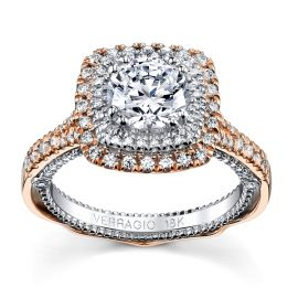 Verragio 18k Rose Gold and 18k White Gold Diamond Engagement Ring Setting 1/2 ct. tw.