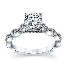 Divine 14k White Gold Diamond Engagement Ring Setting 1/6 ct. tw.