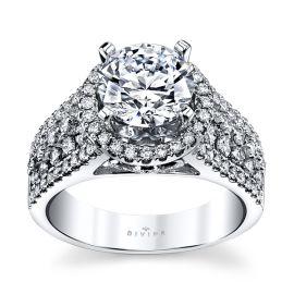 Divine 14k White Gold Diamond Engagement Ring Setting 7/8 ct. tw.