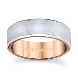 Verragio 14k White Gold and 14k Rose Gold 7 mm Wedding Band