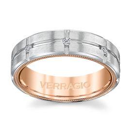 Verragio 14k White Gold and 14k Rose Gold 6 mm Diamond Wedding Band 1/4 ct. tw.