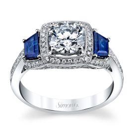 Simon G. 18k White Gold Blue Sapphire Diamond Engagement Ring Setting 1/5 ct. tw.