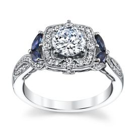 RB Signature 14k White Gold Blue Sapphire Diamond Engagement Ring Setting 1/3 ct. tw.