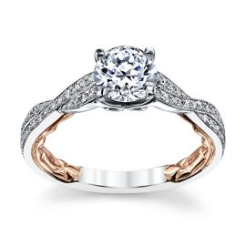 A. Jaffe 14k White Gold and 14k Rose Gold Diamond Engagement Ring Setting 1/5 ct. tw.