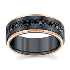 Lashbrook Black Zirconium and 14k Rose Gold 8 mm Black Diamond Diamond Wedding Band 1/2 ct. tw.