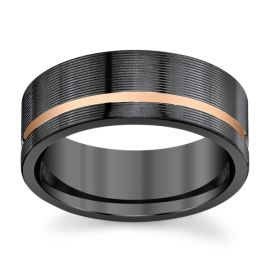 Lashbrook Black Zirconium and 14k Rose Gold 8 mm Wedding Band