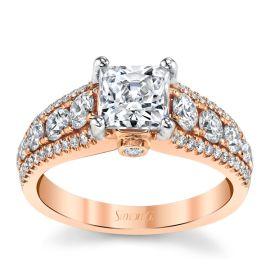 Simon G. 18k Rose Gold Diamond Engagement Ring Setting 1 ct. tw.