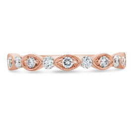 Henri Daussi 18k Rose Gold Diamond Wedding Band 1/3 ct. tw.