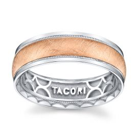 Tacori 18k White Gold and 18k Rose Gold 7 mm Wedding Band