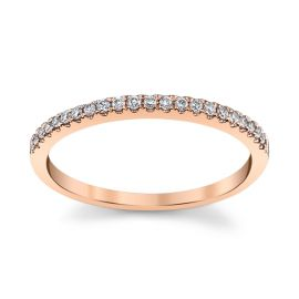14k Rose Gold Diamond Wedding Band 1/10 ct. tw.