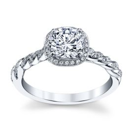 Pre-Owned Jeff Cooper 14k White Gold Diamond Engagement Ring Setting 1/7 ct. tw.