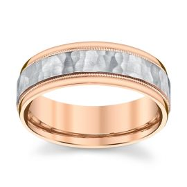 14k Rose and 14k White Gold 7 mm Wedding Band
