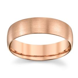 14k Rose Gold 6 mm Wedding Band