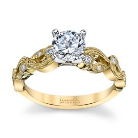 Simon G. 18k Yellow Gold and 18k White Gold Diamond Engagement Ring Setting 1/8 ct. tw.
