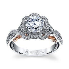 Verragio 18k White Gold and 18k Rose Gold Diamond Engagement Ring Setting 1/2 ct. tw.
