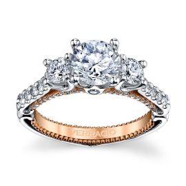 Verragio 18k White Gold and 18k Rose Gold Diamond Engagement Ring Setting 3/4 ct. tw.