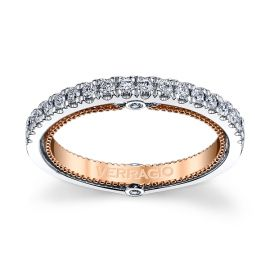 Verragio 18k White Gold and 18k Rose Gold Diamond Wedding Band 1/4 ct. tw.
