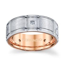 Verragio 14k White Gold and 14k Rose Gold 8 mm Diamond Wedding Band 1/5 ct. tw.